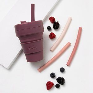 Stojo Collapsible Cup With 4 Reusable Straws